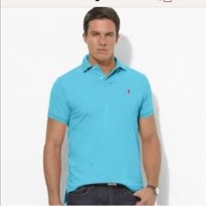 Men's Turquoise polo shirt with pink pony